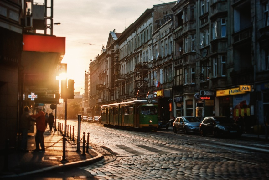 1974 tram swienty marcin poznan sunset retro feel old