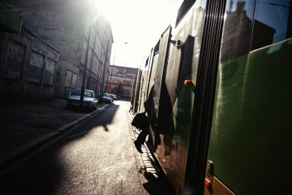 249 365 Made it Man entering tram barely sunny spring day Jezyce