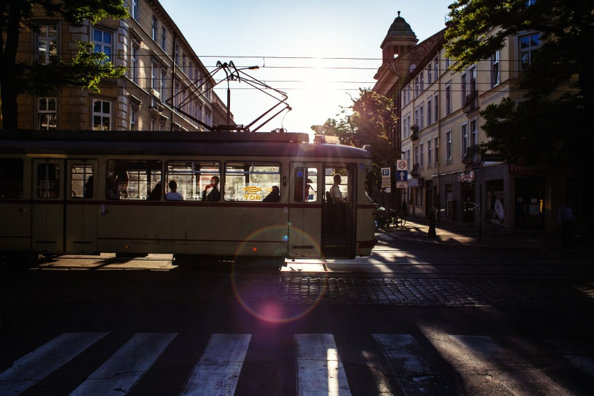 279 365 Air Conditioning tram door open warm evening jezyce bright sun