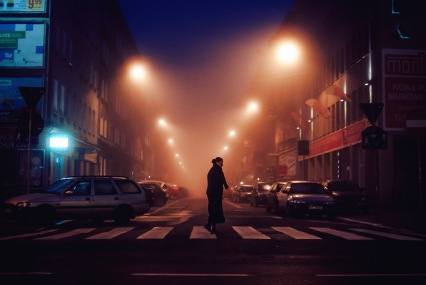 tacazka woman crossing in fog lrg 35mm