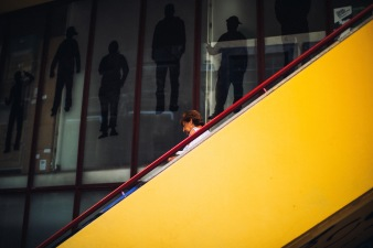 lady on yellow staircase